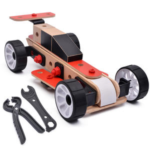 Detachable wood assembly racing car toys
