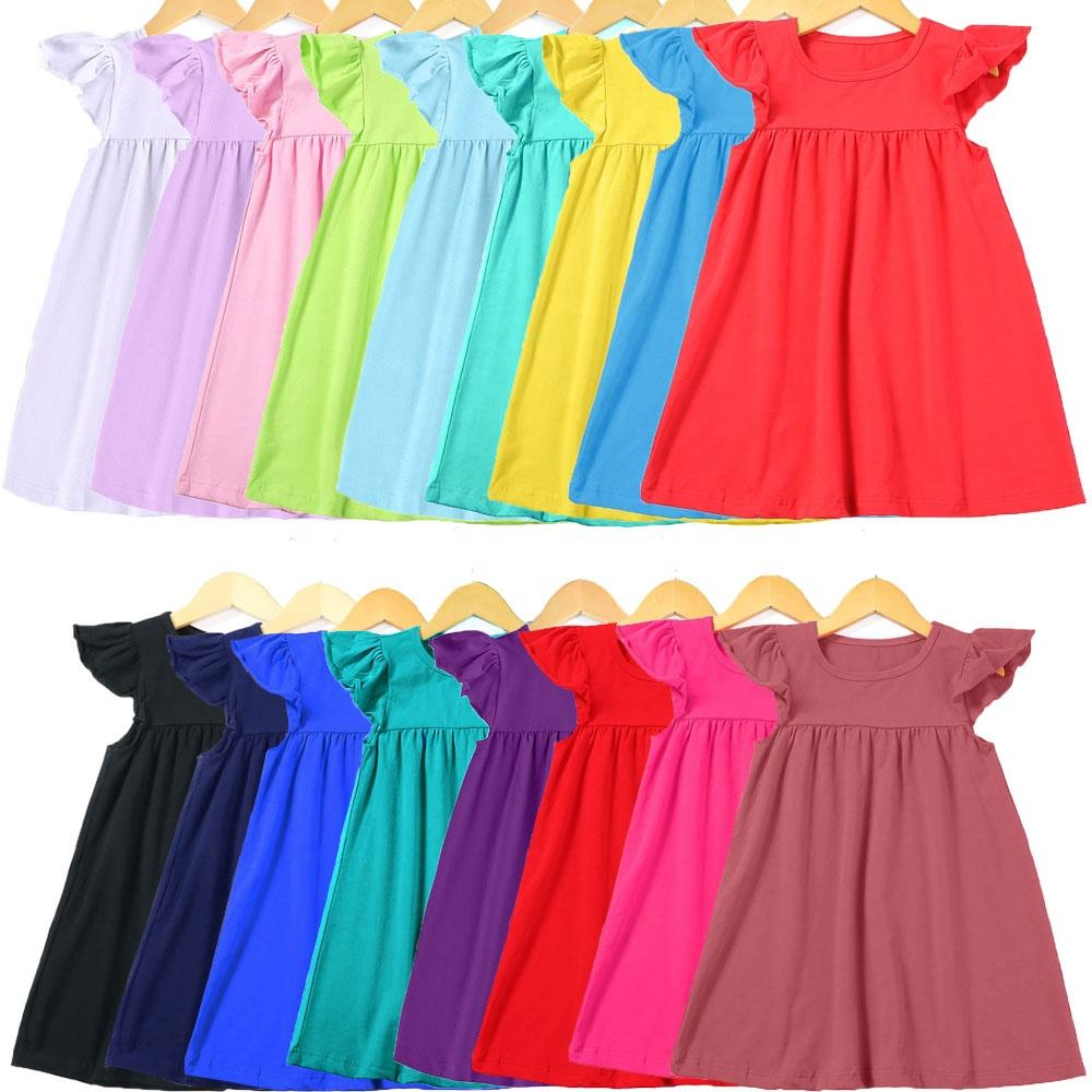 toddler boutique RTS Srock flutter ruffle cotton baby girls kids children little party casual blank simple girl summer dress