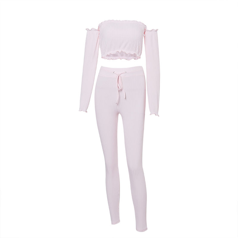 Summer Pink Princess Plus Size 2 Piece Set Women Rib Pants Set Long Sleeve Crop Top Pants Women Clothing Set