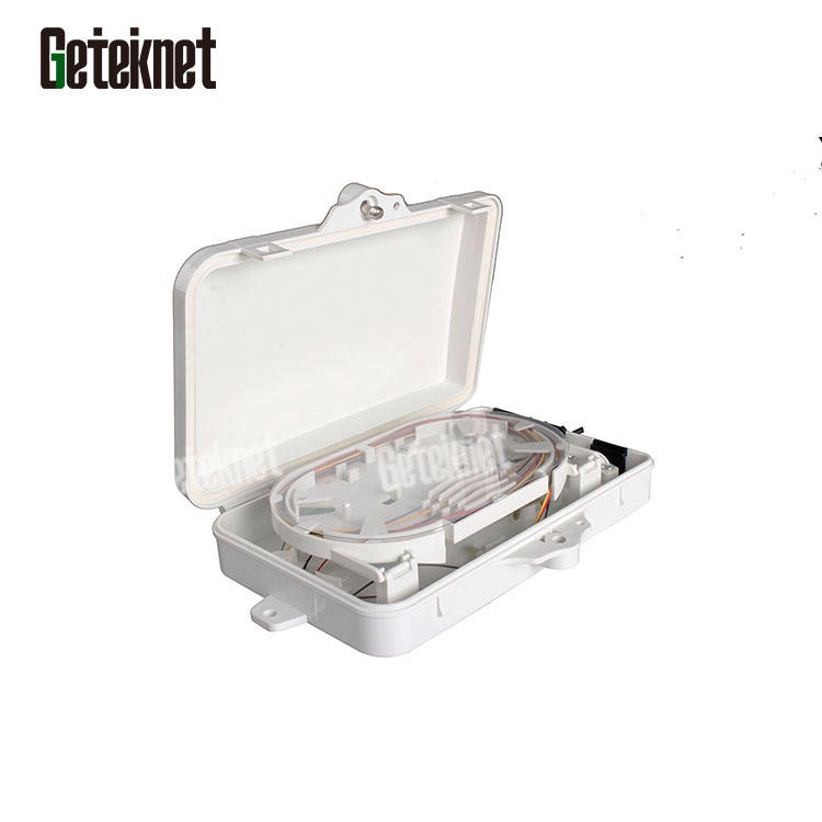 Outdoor optical distribution waterproof fiber protection 4core 6core fiber mini enclosure fiber box with coupler pigtail