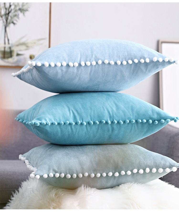 Pompon Hair Ball Lace Cushion Cover Pompomes Trim Pillow Case Set Sofa Pom Pom Cushion Cover Decorative Pillow Case Paris 35X50