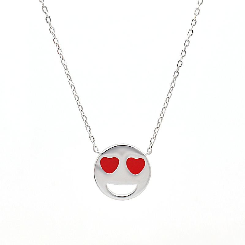 Rhodium-Plated 14K Gold Smiley Gezicht <span class=keywords><strong>Ketting</strong></span> Met Hoge Kwaliteit Gepolijst Emaille