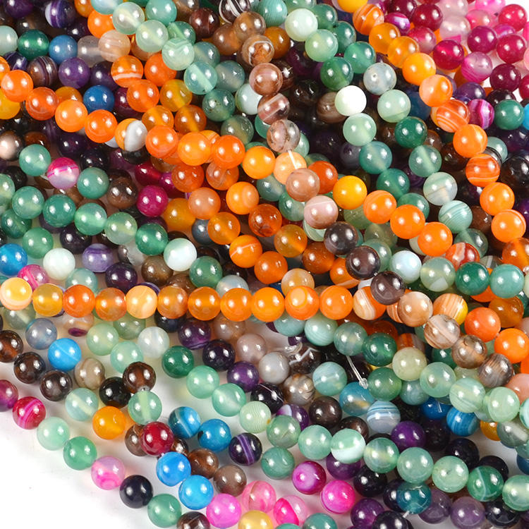 Wholesale Bulk Natural Loose Gemstone Beads , 6mm Agate Natural Stone Beads for Jewelry Making