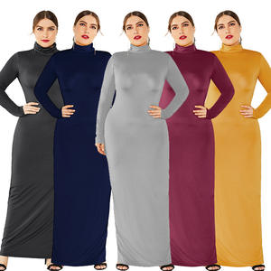 2020 plus size bodycon dresses high-neck long-sleeved fashion all-match XL banquet women's plus size dresses
