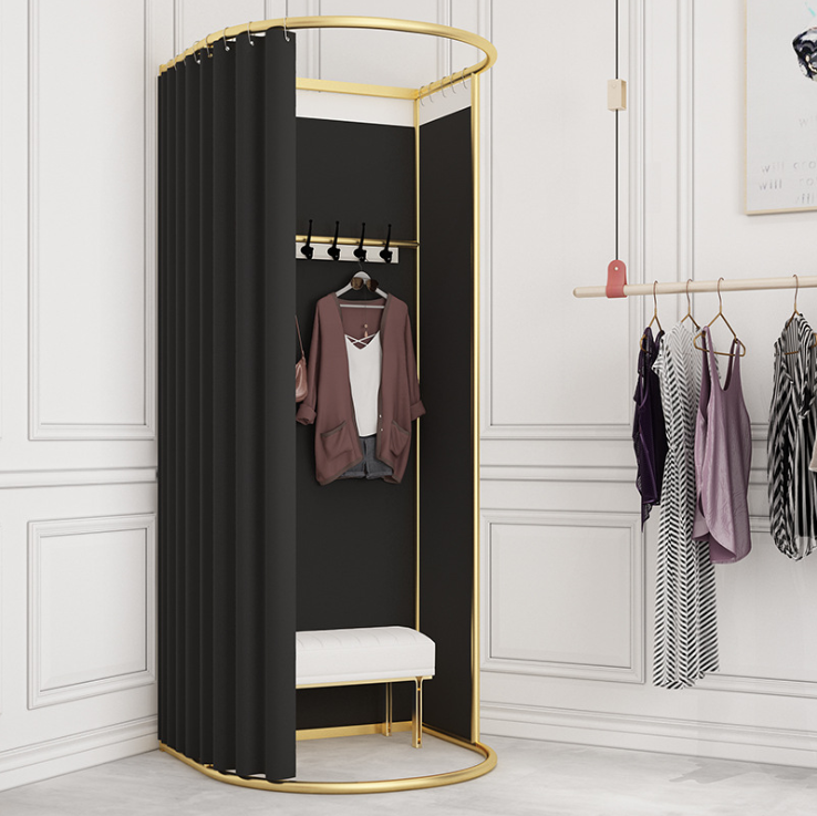 Gold Round Stainless Steel Portable Curtain Pop Up Fitting Room for Retail Store Clothing Change