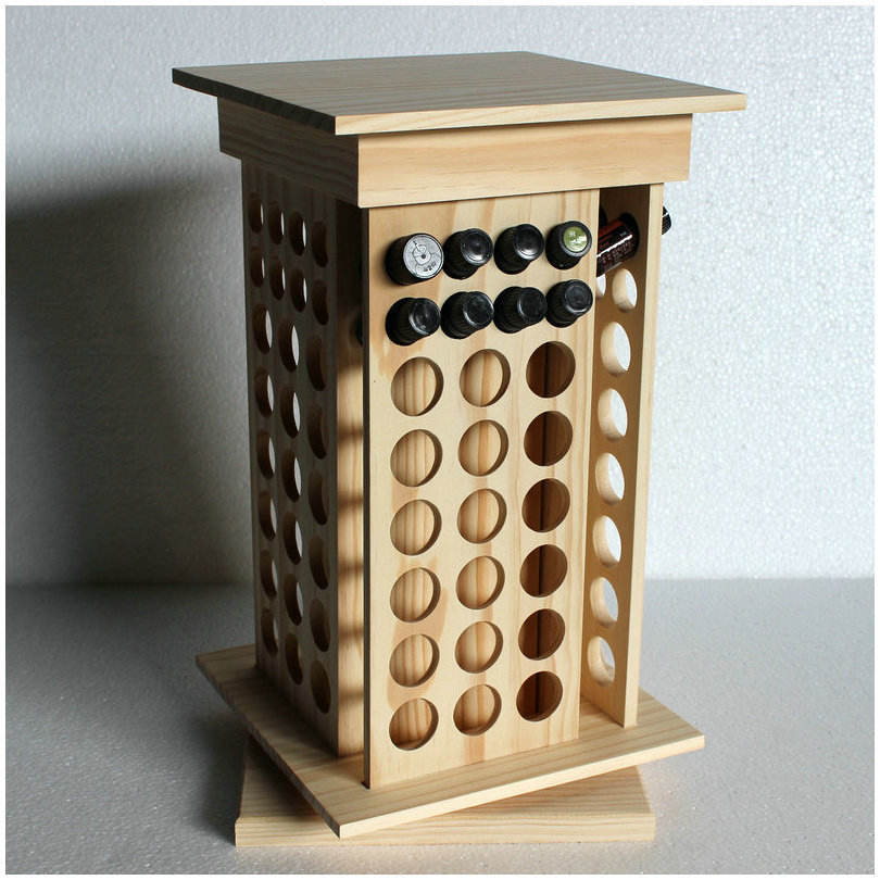 custom rotating wooden essential Oil bottle Storage Rack Wooden Display Holder Organizer