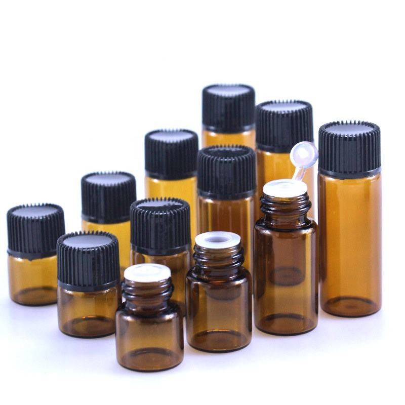 Sample essential oil test bottle 1ml 2ml 3ml 5ml trial set amber glass vial with plug