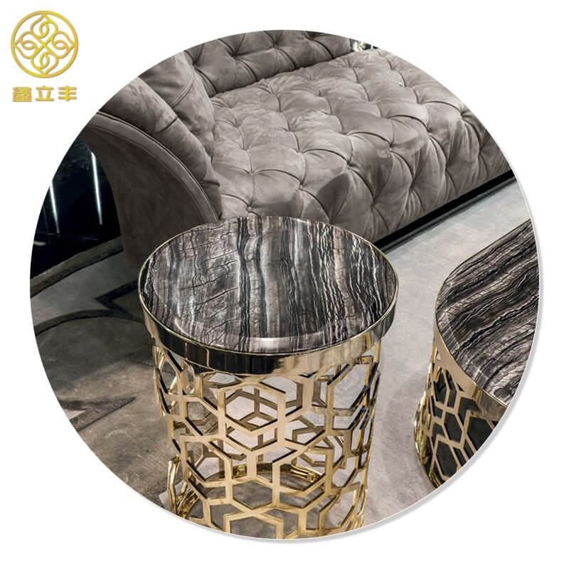 Guangdong Xinlifeng Factory Black Round Circle Metal Marble Coffee Table