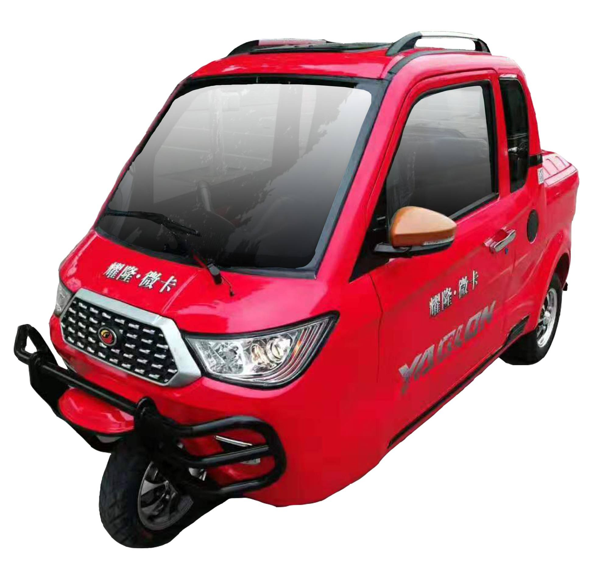 China YAOLON brand new design cargo passenger loader Pickup truck three wheel enclosed gasoline tricycle