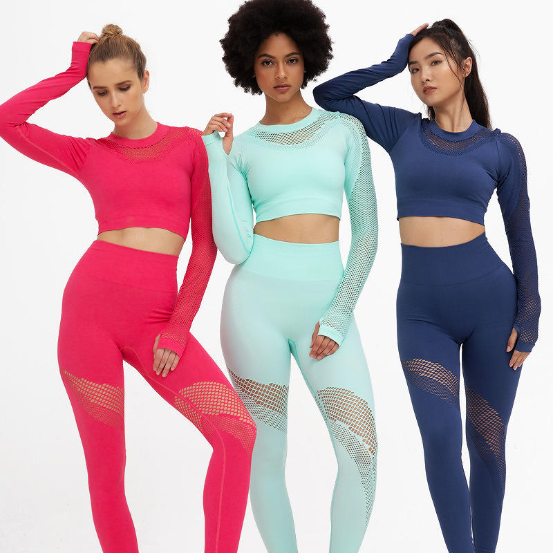 2020 High Quality Sexy Women Sport Suit Stretch High Waist Gym Yoga Outfit Fitness Yoga Sets