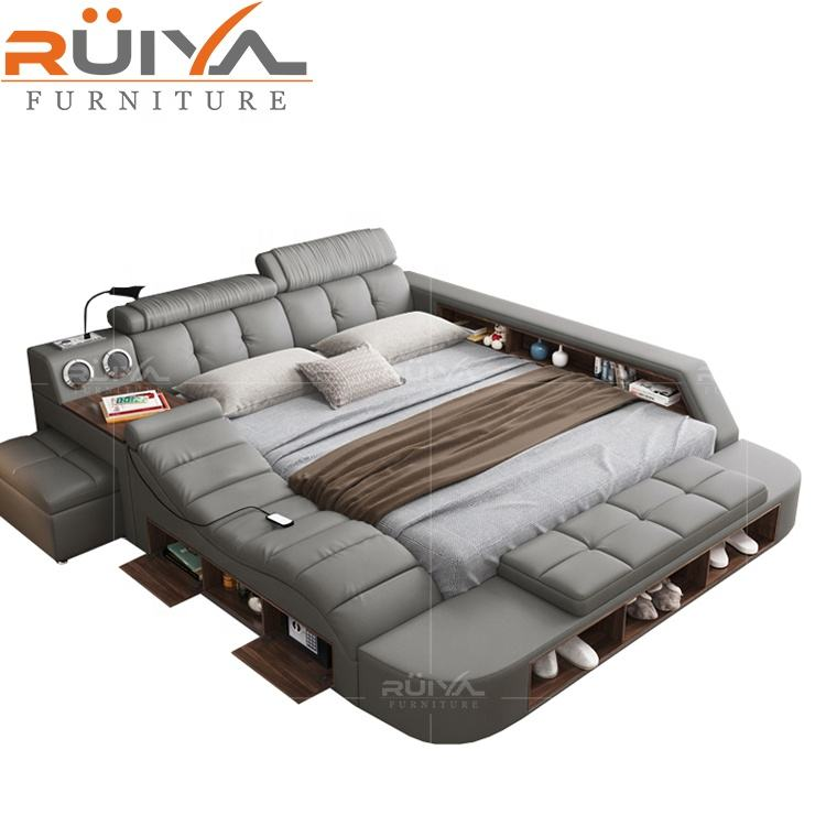 Customizable factory wholesale multifunction storage bed with massage music design of leather bed solid wood frame tatami