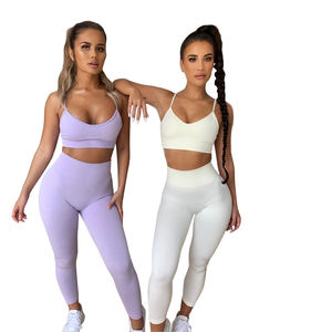 wholesale yoga wear set tights color block leggins and sexy sports bra