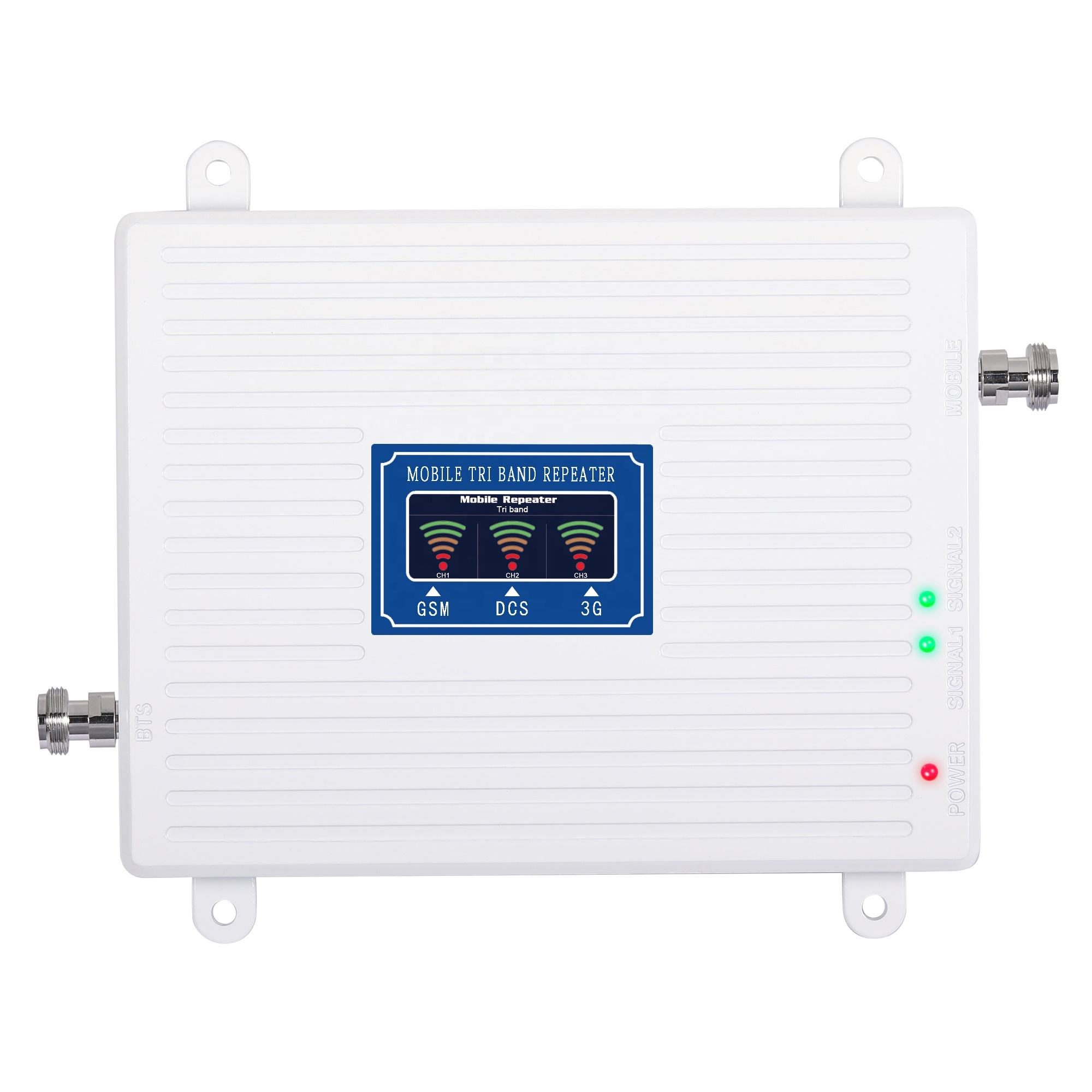 High quality white GSM DCS WCDMA signal amplifier booster 70dB 2g 3g 4g 900/1800/2100 mhz tri band mobile signal repeater