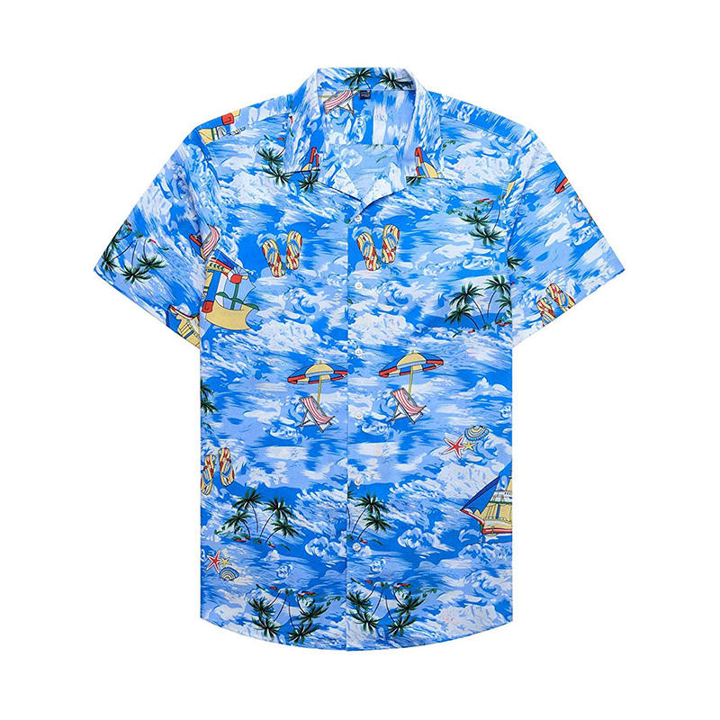 Plus Size Men Shirt Summer 2021 Streetwear Casual Button Hawaii Printed Short Sleeve Quick Dry Beach Men Shirt