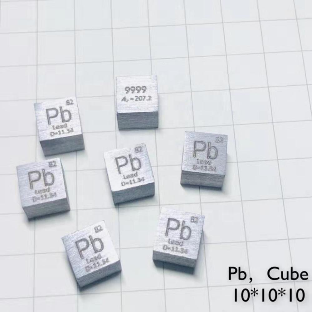 Lead Pb Metal 10mm Density Cube 99.99% Pure for Element Collection