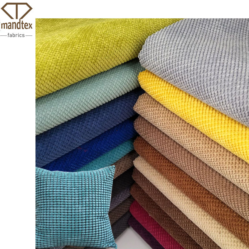Mand textile ready stock micro polyester dobby woven yarn dyed comfortable dot velvet corduroy fabric for throw pillow by rolls