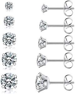 Simple Design 5 Pairs Cubic Zirconia Stud Earrings Set for Women
