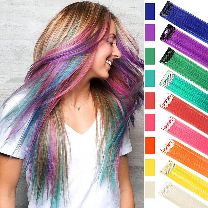 hot pink blue multicolored clip in hair extensions buy colour hair extension clips in single piece