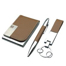 pu leather card holder case pen leather keyring power bank corporate promotion gift set items 2019