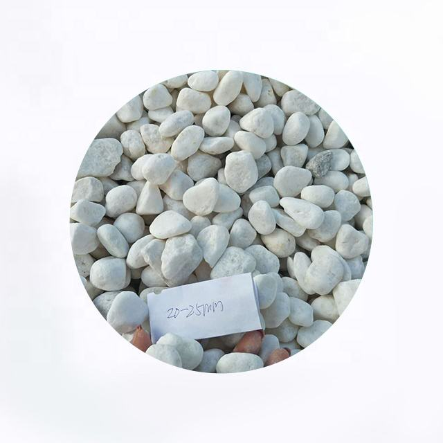 Tumbled Snow White Stone For Gabion Furniture High Quality Pebble Stone Gabion
