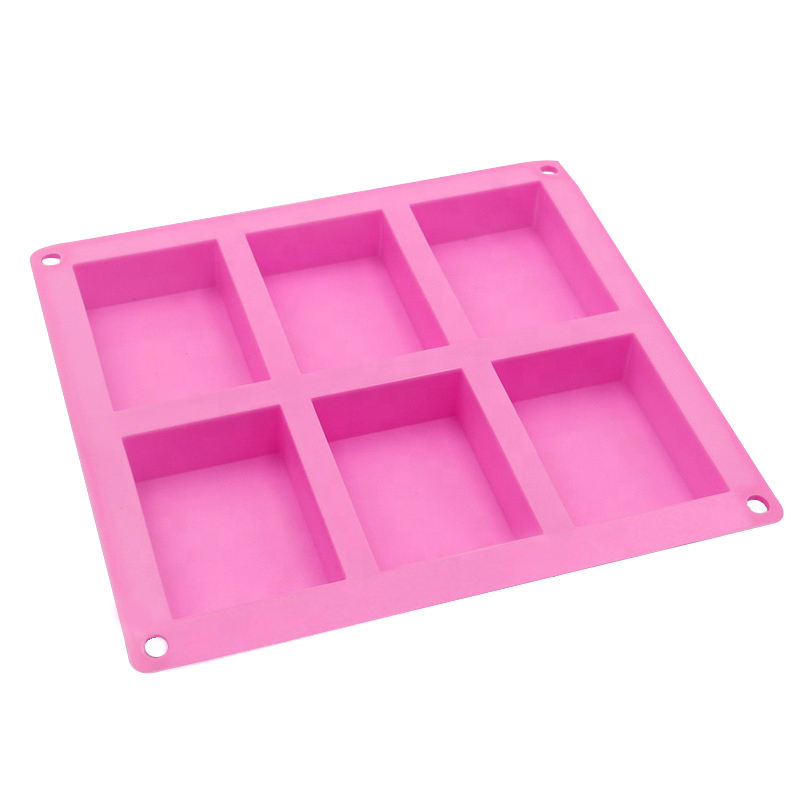 Wholesale BPA free silicone mold cake Molde de torta with Non- stick 6 cavities square soap resin mold for DIY handmade
