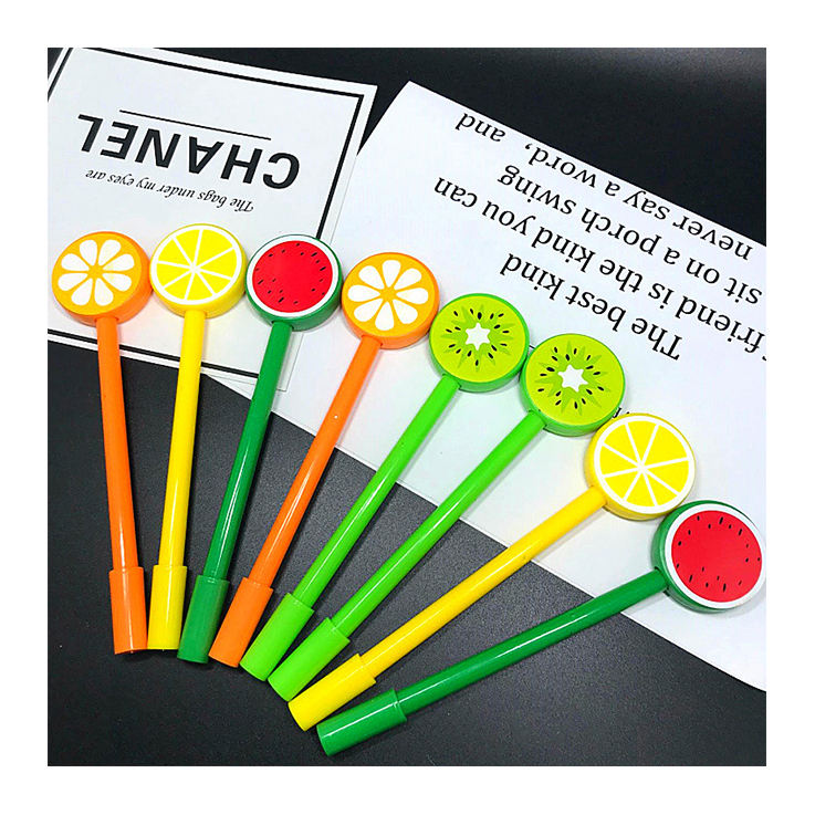 Promotion 1.0mm Cheap Amazing Stationery fruit pen with ld promotion gel ball point pen