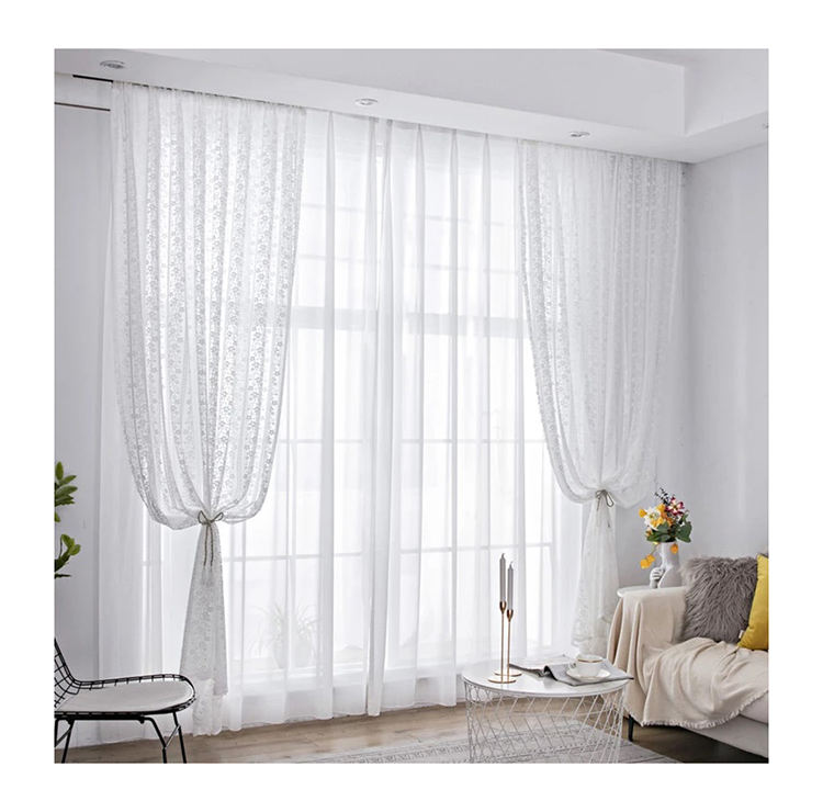 Ready made cheap German warp knitting living room white lace curtains
