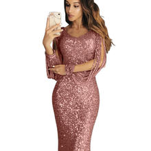 OEM Sexy Women long sleeve floor-length long Evening Party dresses