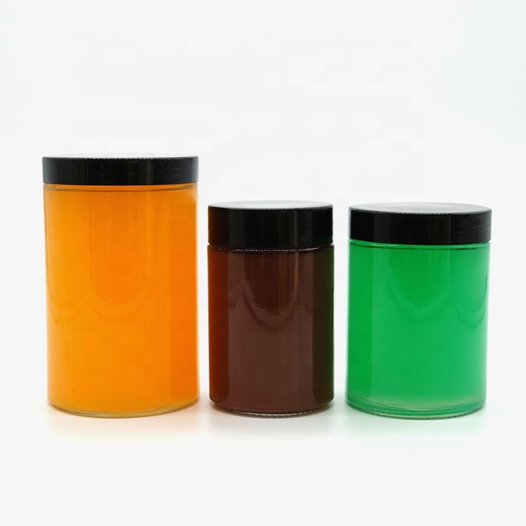 New Arrival 12oz 14oz Clear Straight Side Glass Storage Bottles Jars for Ginger Whiskey Honey Vodka with Screw Lids