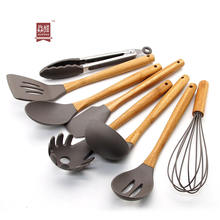 Professional cooking tool set kitchen cookware 8 pieces silicone utensils set with bamboo handle