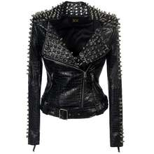 Faux leather PU Jacket Punk Rivet Women fashion Winter AutumnMotorcycle Jacket Black faux leather Coat Outerwear Punk