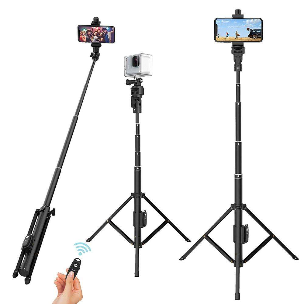 Selfie Stick Tripod,51 Inch Extendable Cell Phone Tripod Selfie Stick Stand with Detachable Wireless Remote Shutter for Phone
