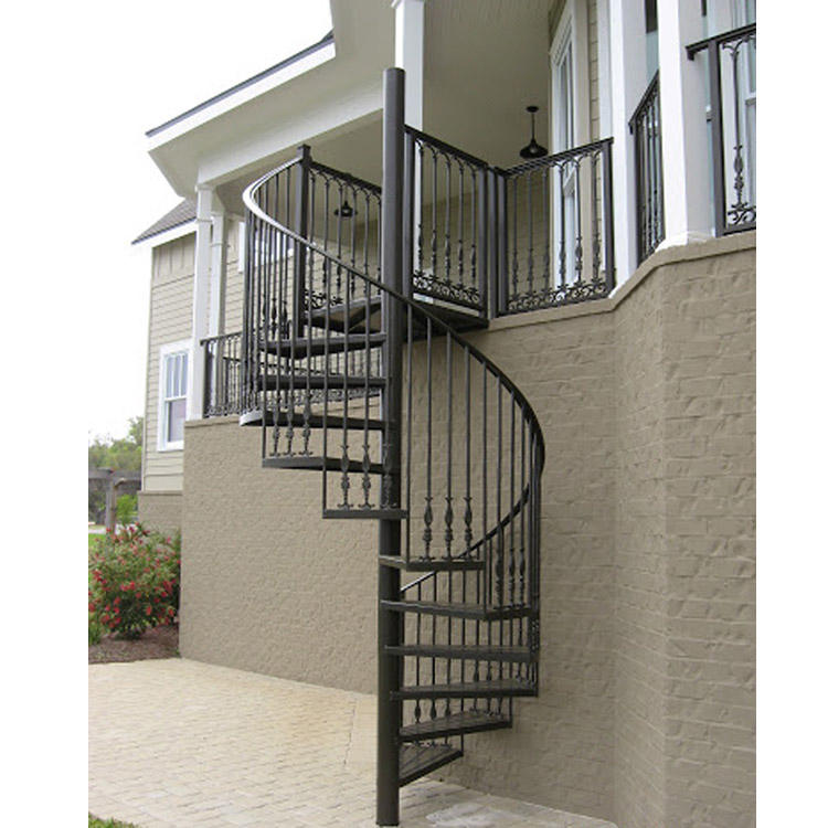 Foshan factory with stainless rod railing with painting color exterior helix staircases