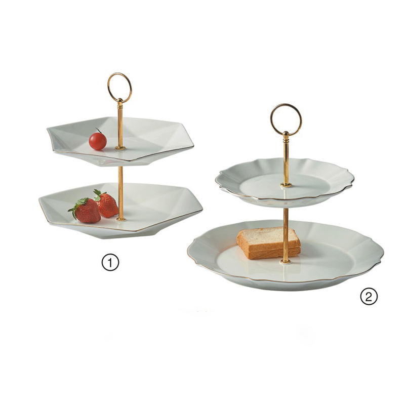 Wholesale two tier ceramic cake plate cake tray wedding party serving plate
