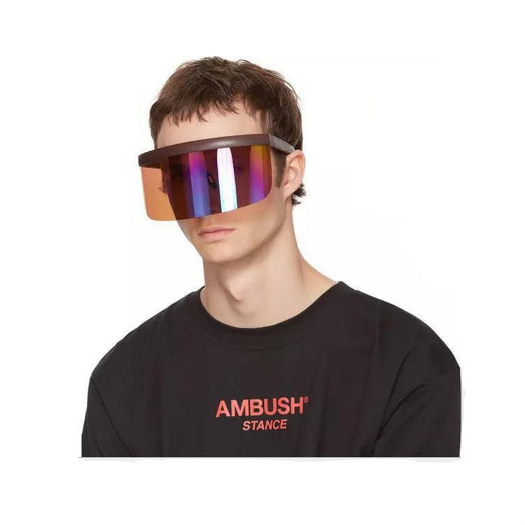 Fashion One Piece Oversize Custom Logo Sports Goggle Shield Men Women Sunglasses