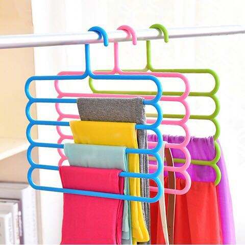 HOT 5 layers Non-slip MultiFunctional Clothes Hangers Pants Storage Hangers Cloth Rack Multilayer Storage Scarf Tie Rack Hanger
