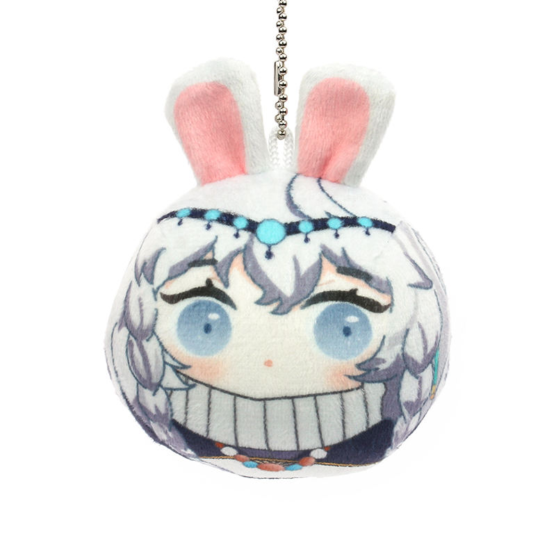 Cartoon anime character customized VOGRACE round shape manjuu hot sale PP cotton ball beads short plush pillow keychain no MOQ