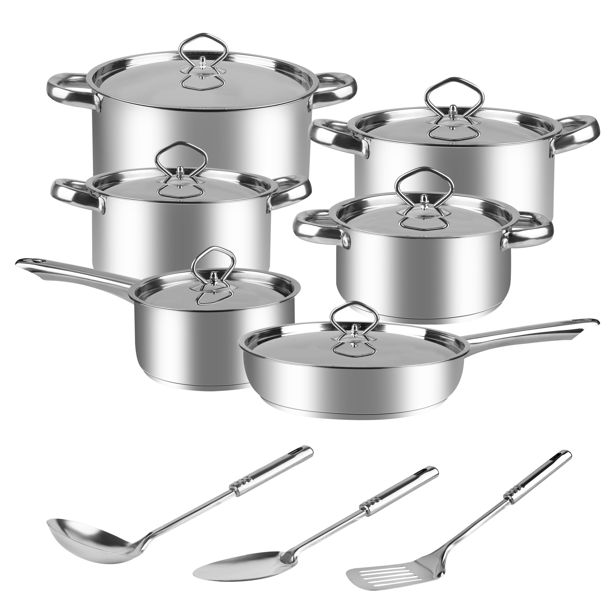 15PCS COOKWARE SET 410# Stainless steel South Africa 5.2KGS