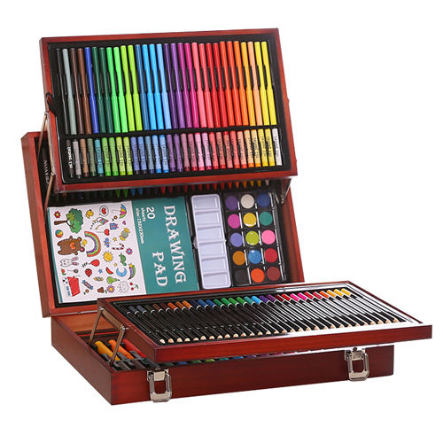 Water colo pen artistic set 178 pcs with wooden case packing Drawing and Art Set