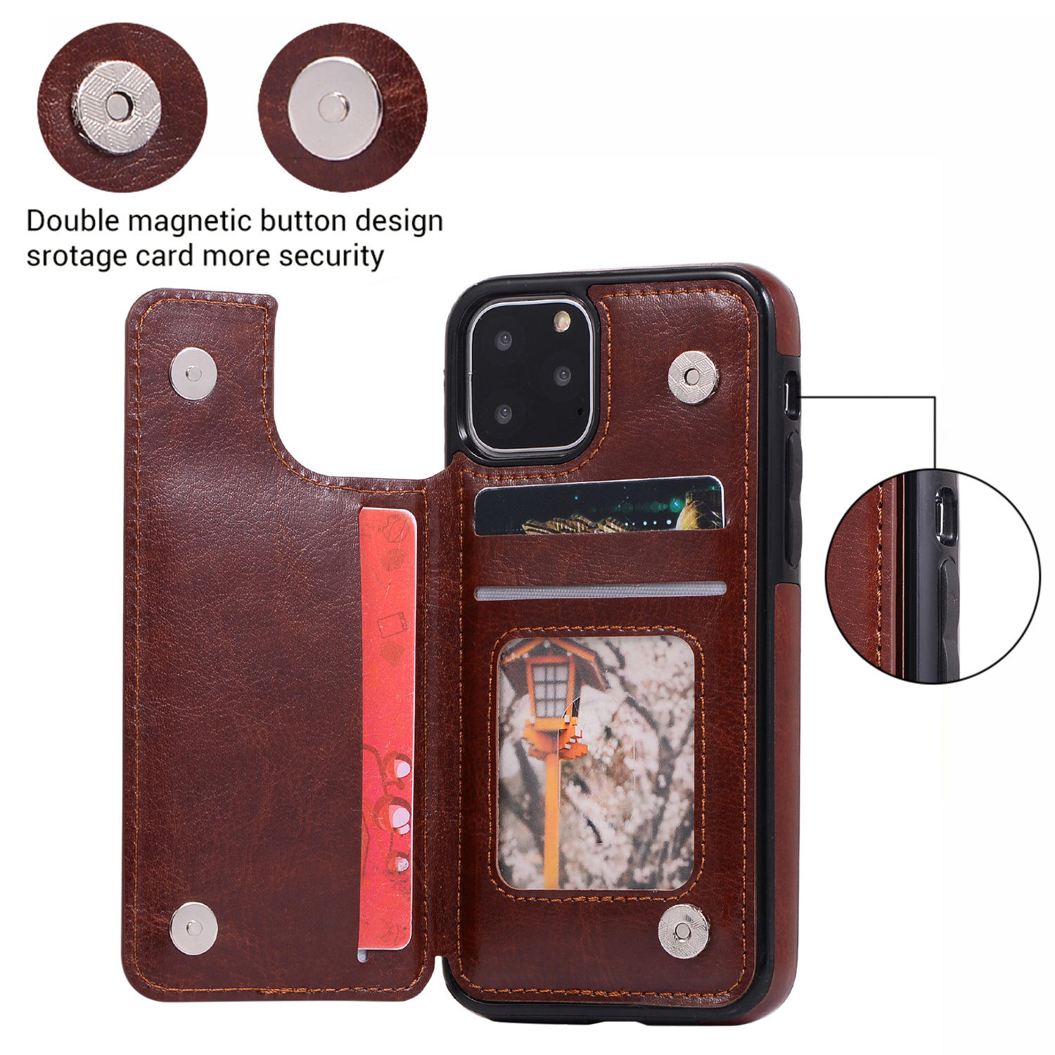 2020 Newest Magnetic Flip Card Holder Case Bag for iPhone 11 pro PU Flip Wallet Leather Case for iPhone 5 6 7 8 X