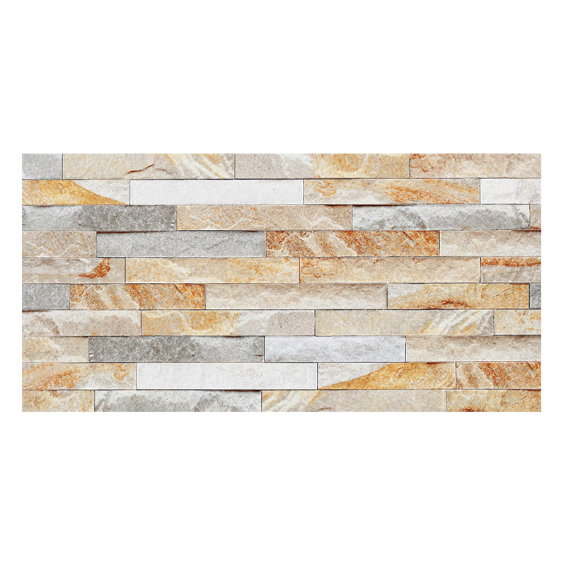 China Manufactory 12x24 inch ceramic outdoor wall Garden decor culture stone Gloden Beige Grey Mixed Ceramic tile