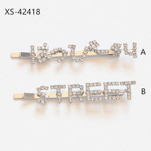 2020 Amazon Hair Clips Metal Iron Simple rhinestone glitter silver letter hair pin For Girls and Kids Party