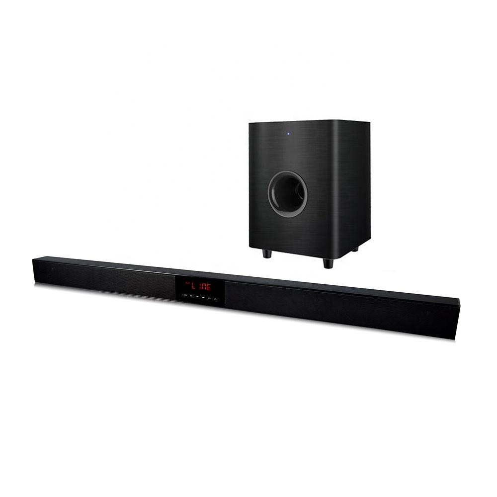 2.1ch soundbar with wired subwoofer LED display remote control home theater speaker sound bar with wireless bluetooth