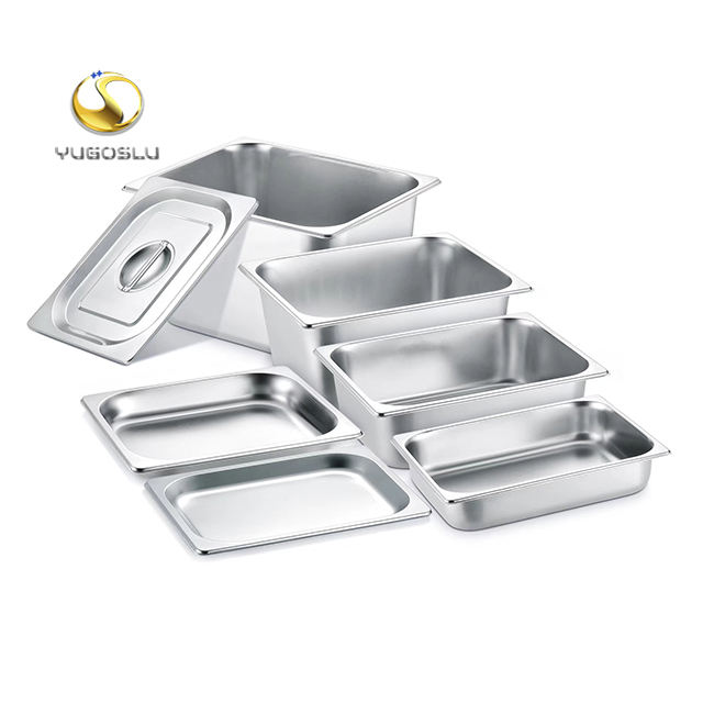 European style SS201 stainless steel gastronorm gn pan with lid