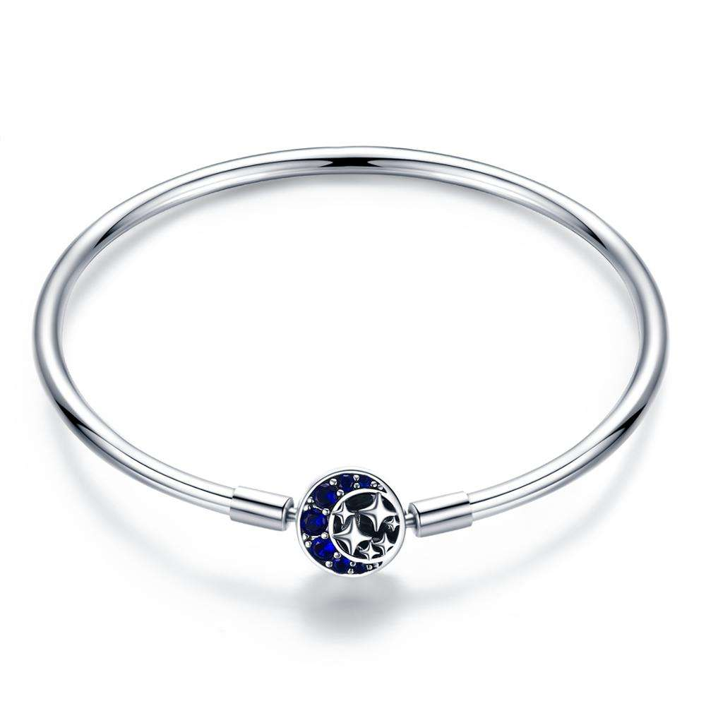 Star studded S925 sterling silver bracelet charm with blue gems for pandora women bangle DIY