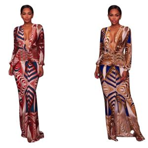 Sexy hot digital print Europe and the United States fashion plus-size African dress designs ankle length women dresses