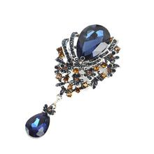 Crystal Rhinestone Pin Brooch Embellishment Wholesale European Silver Plated Alloy Water Drop Shaped Blue brooch