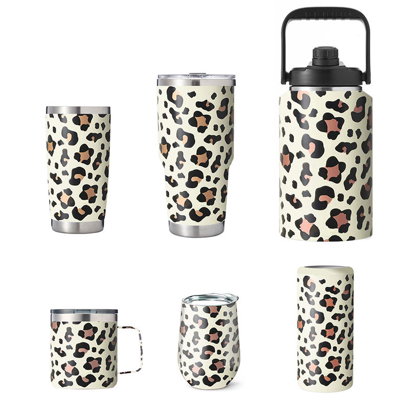 leopard print Stainless Steel Water Bottle Reusable Leakproof Double Wall Insulated Vacuum Flask for Kids with Handle Lid