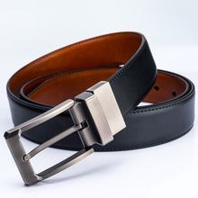 wholesale custom designer Fashion Brand Reversible Belt Rotated Buckle Men Genuine Leather Belt