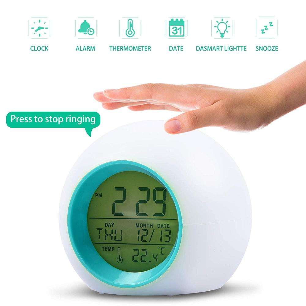 7 Colors Changing LED Digital Alarm Clock for Kids Round Battery Temperature Detect Hot Sale on China Market